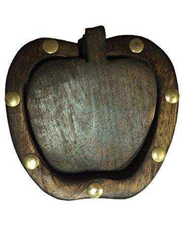 indiabigshop regalo del día de padre Mano tallada náutico posavasos de madera Conjunto de 6 en un soporte en forma de Apple con la flor del embutido