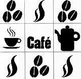 Hellweg Druckerei Wandtattoo in deiner Wunschfarbe Fliesen Aufkleber Cafè Set - Küche Deko Kaffee passend für 10x10 cm Fliesen Sticker