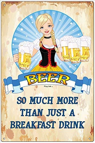 Metal tin Sign 8x12 inches Beer - So Much More Than Just A Breakfast Drink Funny Metal Novelty Aluminum Tin Sign