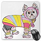 BGLKCS Yorkie Alfombrilla de Ratón Mouse Pad, Cute Dog with Sports Gear on Running Gear on Going for a Walk Colorful Dress Fun, Standard Size Rectangle Non-Slip Rubber Mousepad