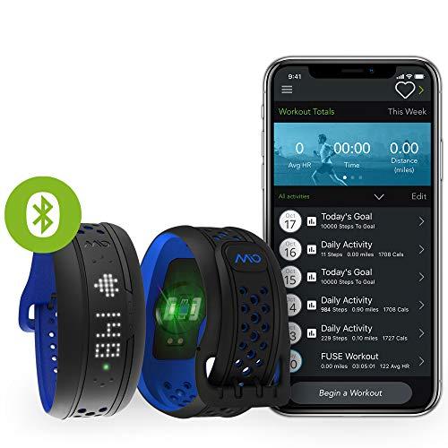 MIO Fuse Activity Tracker mit Schrittzähler- Pulsarmband mit Erfassung von Kalorienverbrauch und Distanz, Fitnessarmband mit Pulsmessung und App - 15,6 - 20,8 cm Handgelenkumfang - Cobalt Blau
