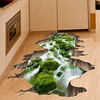 Aliciashouse 3D Stream Floor Decor Wall Sticker Removable Mural Decals Vinyl Art Home Decoration
