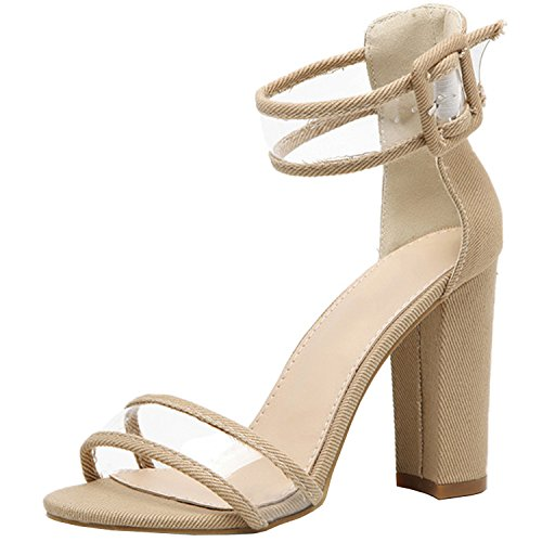 Oasap Women's Open Toe High Chunky Heels Ankle Strap Sandals Mint Green