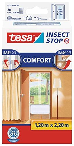 tesa Insect Stop COMFORT Fliegengitter für Türen - Insektenschutz Tür mit Klettband - Fliegen Netz ohne Bohren - Weiß ( 2 x 65 cm )120 cm x 220 cm