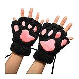 NdB 1500 - [NER+ROS] Guanti senza dita a forma di Zampa d'Orso - Morbidi e Caldi - Ideali per Inverno e Autunno - Mani Libere - per Adulto e Bambino - Nero Rosa