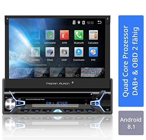 Tristan Auron BT1D7022A Autoradio mit Android 8.1, 7\'\' Touchscreen Bildschirm, GPS Navigation, Bluetooth Freisprecheinrichtung, Quad Core Prozessor, Mirrorlink, USB, SD, OBD 2, DAB+ I 1 DIN