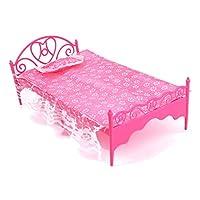 Juguete de mobiliario de dormitorio - SODIAL(R)Muebles de plastico hermosa cama de habitacion para munecas de Barbie de SODIAL(R)