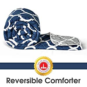 Divine Casa Microfibre Comforter/Blanket/Quilt/Duvet Lightweight, All Weather, Reversible Single Comforter, Navy Blue and White - Abstract (110 GSM)