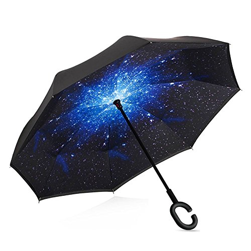 Ombrello inverso antivento  a doppio strato, inverso umbrella reverse  per auto all'aperto, le mani a forma di c creativo,  manico impermeabile protezione uv  (cielo stellato)