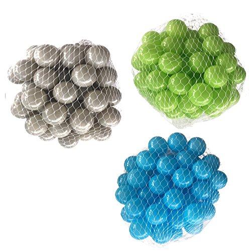 150 Bälle für Bällebad gemischt mix mit türkis, hellgrün und grau