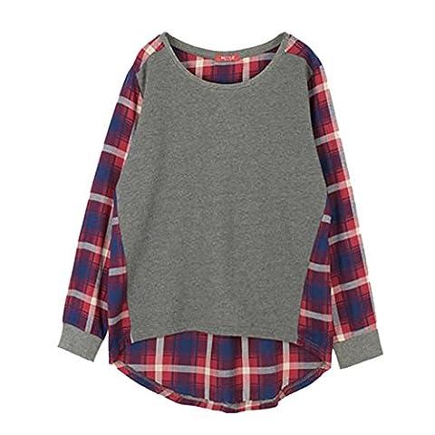 ESHOO Femmes Plaid VéRifié Manches Longues Casual Blouse Shirt Pull