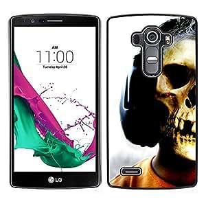 Plastic Shell Protective Case Cover || LG G4 || Skull Headphones Music Art Skeleton Man @XPTECH