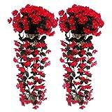 Lot de 1/2/4 Grappe de Violettes Artificielles Guirlande de Fleurs Suspendues en Soie Décoration Murale de Mariage Jardin Balcon