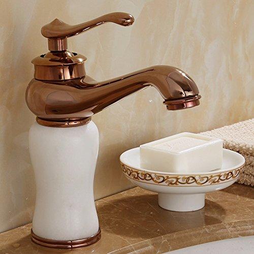 AWXJX Waschbecken Wasserhahn AWXJX Kupfer Im Europäischen Stil Das Waschen Des Gesichts Heiß Und Kalt Badezimmer Gold Edelsteine Einlochmontage - Gold-gesichts-edelsteine