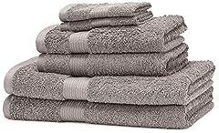 Idea Regalo - AmazonBasics - Set di 2 asciugamani da bagno,2 asciugamani per le mani e 2 asciguamani da bidet che non sbiadiscono, colore Grigio