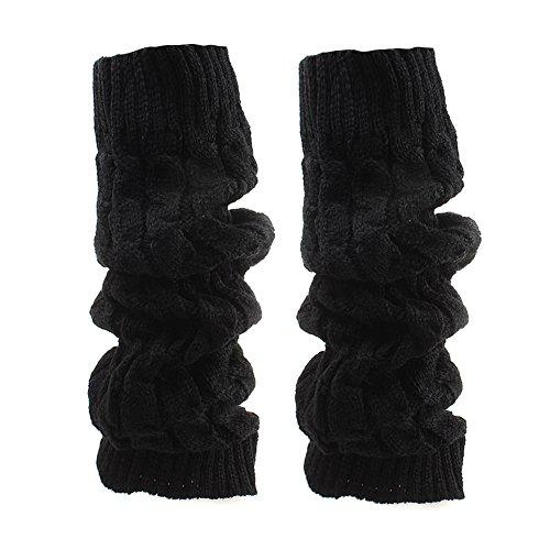(Butterme Frauen Damen Winter Mode Beinlinge Strumpf stricken starke lange Socken Lady Häkelarbeit Legging Bestes Weihnachtsgeschenk (Schwarz))