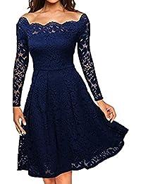 S-2XL  Damen AbendKleid Maxikleid , Yogogo Damen Party Aus Schultern  Kleider Cocktail Kleid   Schulter Faltenrock   50er Vintage… 1338e7a584
