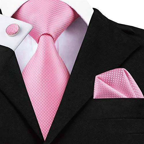 HYCZJH Mens Ties Seide gewebt braun Floral Tie Set Taschentuch Manschettenknöpfe Set Business Hochzeit Hals -