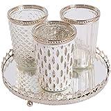 Photophore avec plaque de miroir Photophore Bougie verre Lumière du vent Verre Bougeoir (blanc) Antique