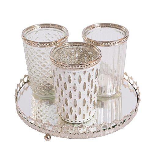 3er Windlichtset Teelichtglas mit Spiegelplatte Teelichthalter Kerzenglas Windlicht Glas Kerzentablett (Weiß)