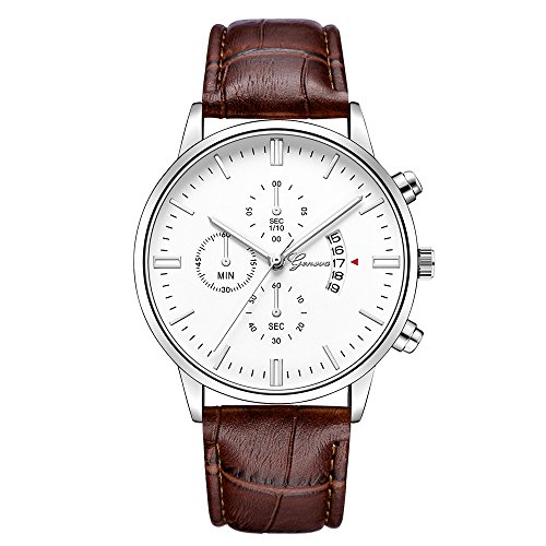 IG-Invictus Geneva Mens Watch Datum Edelstahl Leder Analog Legierung Quarz-Armbanduhr Geneva Watch 627 Gürtel Silber Weiß Braun Gürtel