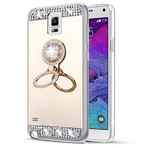 EINFFHO Silicone Coque Samsung Galaxy Note 4 [avec Strass Support Bague] Briller Glitter Bling Diamant Placcatura Miroir Soft Silicone Coque Housse Étui pour Samsung Galaxy Note 4, Or