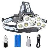 Glighone Boruit LED USB Kopflampe Stirnlampe Aufladbar Wasserdicht 6000LM Superhell 5*XML-T6+ 2*R2 LED Kopfleuchte mit 6 Modi für Camping Angeln Radfahren Laufen Wandern Jagd usw.
