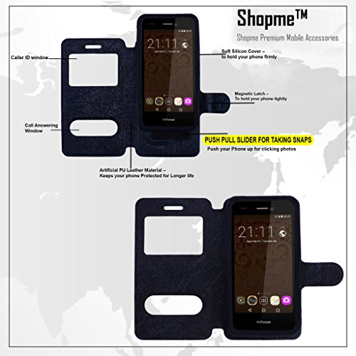 Shopme Premium Push Stand PU Leather Flip cover for Panasonic P61 (Black Color) Complete Mobile Protection, Great Design, Top Quality PU Leather
