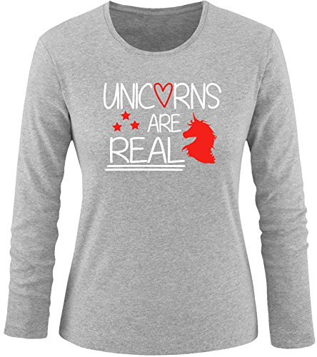 EZYshirt® Unicorns are real Damen Longsleeve Grau/Weiss/Rot