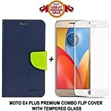 GOELECTRO Luxury Mercury Diary Wallet Style Blue Flip Cover Case For Motorola Moto E4 Plus Flip Cover - Moto E4 Plus Flip Cover + 2.5D Curved 3D Edge To Edge Tempered Glass Mobile Screen Protector (Blue-White)
