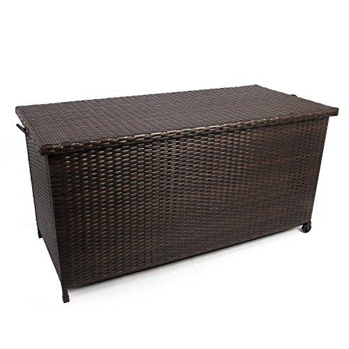 gartenbox polyrattan Park Alley GA-5168 Geflecht-Kissenbox, 270 liters, Braun, 122 x 56 x 60 cm