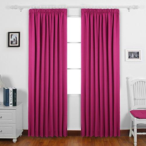 Deconovo Vorhang Verdunkelung Kräuselband Gardinen Kinderzimmer Thermogardine Kräuselband 175x140 cm Pink 2er - Ein Kinderzimmer Für Vorhänge