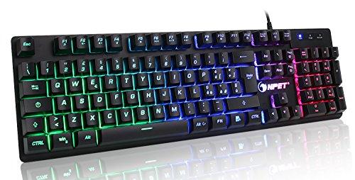 Npet k10 105 tasti chroma tastiera italiana per gaming usb alte performance colori da videogioco e retroilluminata tastiera da gioco tastiera per videogame, pc windows, mac
