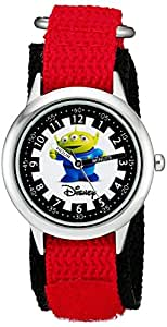 Disney By Ewatchfactory Kids Toy Story Aleins Quartz Watch with White Dial Time Teacher Display and Red Nylon Strap W000063