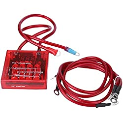 Estabilizador de voltaje digital Coche 12V Kit de estabilizador de regulador de voltaje universal con 3 cables de tierra para camión de carro(rojo)