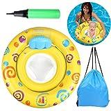 OWUDE Baby Anello Nuoto con Seduta, Galleggiante di Sicurezza per Infantili Gonfiabile Rotondo, Giallo, 6-36 Mesi