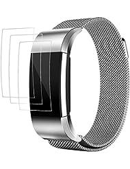 """Bänder für Fitbit Charge 2 mit Displayschutzfolien, AFUNTA 3 Pack Anti-Kratzer TPU Schutzfolien, mit 1 Magnetic Edelstahl Armband Armband 5.5 """"- 8.8"""""""
