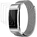 Bracelet pour Fitbit Charge 2 avec Protecteurs d'écran, AFUNTA 3 Pack Anti-rayures TPU Films de Protection, avec 1 Bande Magnétique en Acier Inoxydable 15cm - 22,5cm - Argent