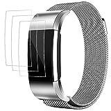 Bänder für Fitbit Charge 2 mit Displayschutzfolien, AFUNTA 3 Pack Anti-Kratzer TPU Schutzfolien, mit 1 Magnetic Edelstahl Armband Armband 5.5