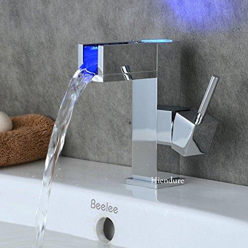 Hiendure®LED Farbewechsel Wasserhahn Chrom Wasserfall Waschtischarmatur Armatur für Bad Badenzimmer Waschbecken -