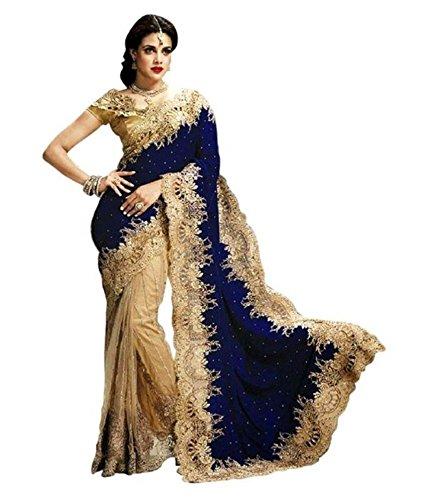 Saloni Velvet:Net Saree (Heavybluevelvet14_Blue)