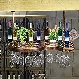 Support à vin en métal pour montage mural - Peut contenir 10 bouteilles de vin, 12 verres à vin - Le cadeau idéal pour les amoureux de la maison - Nouveau design en forme de S unique, 80x25x12 cm