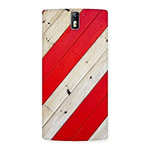 Delighted Diagnoal Red Print Back Case Cover for One Plus One