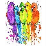 XIGZI Rahmenloses Ölgemälde Durch Zahlen Malen Sie Nach Zahl Für Hauptdekor-Ölbild, Das Bunten Papageien Malt 40x50 cm
