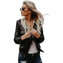 NiSeng Mujeres Casual Manga Larga Outerwear Jacket Irregular Corto Chaqueta con Lentejuelas Blazer