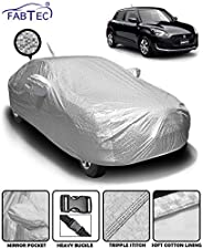 Fabtec Waterproof and Heat Resistant Metallic Silver Mirror and Antenna Pocket Car Body Cover for Maruit Swift
