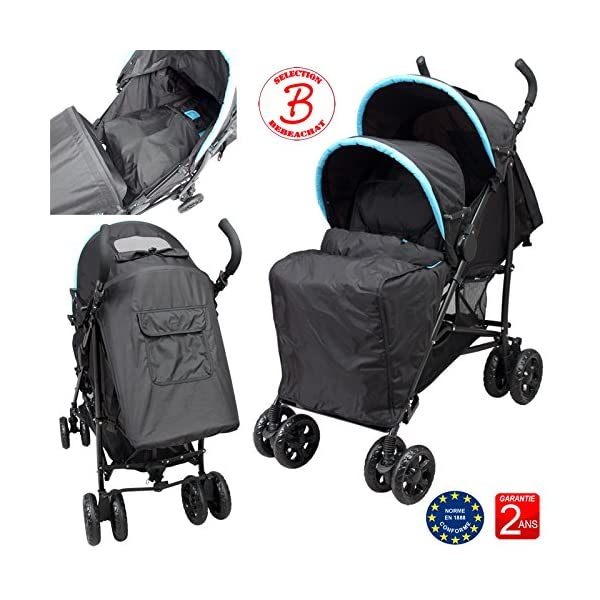 Double Buggy for Children of Similar Age Bebeachat Rear seat: use from birth to 36 months. Front seat: use from 6 to 36 months. Multi-position front and rear seats. 5-point safety harness. The 2 canopies are removable. Window and pocket on the back canopy. Protective apron on front and back. 4