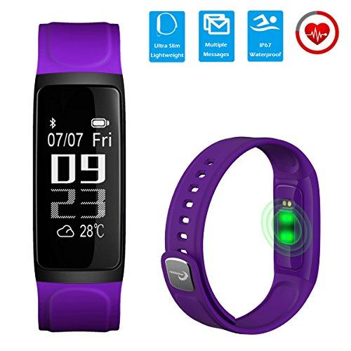 CHEREEKI Pulsera Inteligente con Pulsómetro Fitness Tracker Monitor de Pulso Pulsera Actividad con Contador de Calorias/ Monitor de Sueño/ Contador de Pasos/ Reloj / Mostrar el Clima Smart Bracelet Smartwatch para Android y iOS iPhone