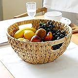 Panier Fruits,Bol de Fruit Naturel Paille Disque Stockage de Plateau Bureau Sundries Panier Fruits Basket Table graines Melon Plateau de collation