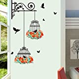 #1: Studio Curate Wall Sticker for Living Room, Bedroom (Colorful Flowers, Birds And Birdcage) Pvc Vinyl - Removable - Pack Of 1, 76cm X 56 cm